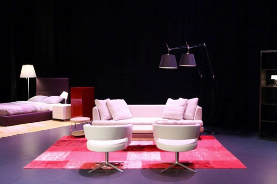 Bensen Edward Sofa Behind Montis Turner Chairs